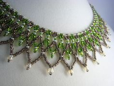 Green Netted Beadwork Collar Necklace, Beaded Jewelry, Seed Bead, Brown, Silver. $66.00, via Etsy.