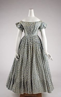 Simple, charming! Ensemble, cotton, 1835–45, American @metmuseum Accession Number: 1976.208.1a, b