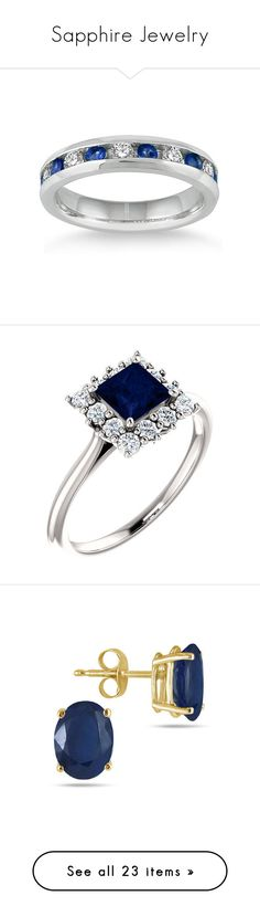 """""""Sapphire Jewelry"""" by applesofgoldjewelry ❤ liked on Polyvore featuring jewelry, rings, sapphire diamond ring, 14 karat gold diamond ring, white gold rings, diamond jewelry, 14k white gold ring, blue sapphire ring, blue sapphire jewelry and princess cut jewelry"""