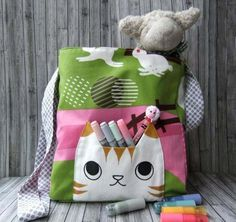 tabby cat messenger satchel - how cute is this!