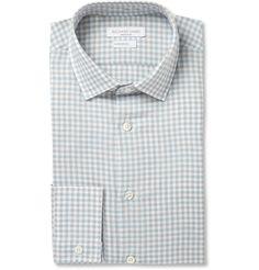 Richard JamesBlue and Brown Gingham Check Linen-Blend Shirt