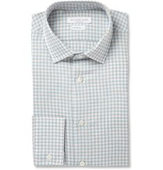 Richard James Blue and Brown Gingham Check Linen-Blend Shirt