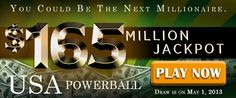 USA Powerball Rollover: US$ 165M Jackpot on May 1