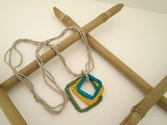 Soft Cotton Crochet Necklace with a Trio of Colorful Crochet Squares Pendant by EssentialCrochet, $17.00