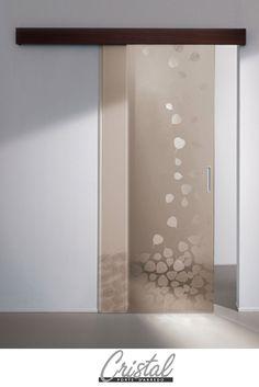 ricordi-a con vere foglie naturali nella porta in vetro ... - Porte In Vetro Decorate Moderne