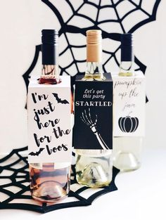 Free printable halloween wine tags. These funny halloween bottle tags make the perfect cheap halloween decoration idea. Adult halloween party ideas, halloween drink ideas, drinking games, halloween decorations, halloween cocktails. #halloween #halloweenpa