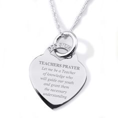 Teachers Prayer Heart Necklace/Pendant - 925 Sterling Silver Personalised