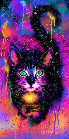 Rainbow Painted Tabby Cat Art Print by Nick Gustafson Colorful Animal Paintings, Colorful Animals, Cute Animals, Cat Wallpaper, Cute Wallpaper Backgrounds, Animal Wallpaper, Rainbow Painting, Rainbow Art, Rainbow Pastel