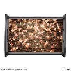 Pixel Fireburst Serving Platters