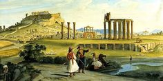 Johann Michael Wittmer 1833 Athens, Temple of Zeus Athens Acropolis, Athens Greece, Ancient Ruins, Ancient Greece, Temple Ruins, International Artist, Olympians, North Africa, Albania