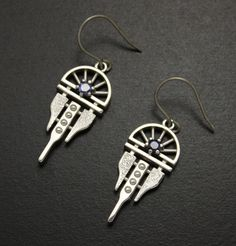 Art Deco style sapphire and silver earrings of an arch by KAZNESQ, $215.00