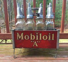 Mobiloil Bottles in Metal Carrier