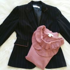 "SALE Tahari Pinstriped Blazer Adorable Tahari Black with Pink Pinstripes 24"" from top of shoulder to bottom 22"" Sleeve length. Perfect with Back Skirt or Jeans and Boots size 4P Tahari Jackets & Coats Blazers"