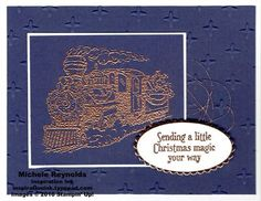 Handmade Christmas card using heat embossing and Stampin' Up! products - Christmas Magic Stamp Set, Sparkle Embossing Folder, Metallic Thread, Stampin' Emboss Powder, Layering Ovals Framelits, and Copper Foil Sheets.  By Michele Reynolds, Inspiration Ink.