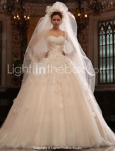 A-line Sweetheart Cathedral Train Tulle Satin Wedding Dress With Veil - USD $ 979.99