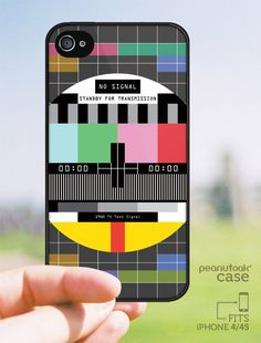 Phone case for iPhone 4 or iPhone 4S inspired in old vintage TV signal graphics plastic phone case for iPhone 4 or 4S cool phone case Space