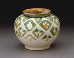 Chinese    Jar, Tang dynasty (A.D. 618-907), first half of 8th century, Earthenware with three-color (sancai) lead glazes