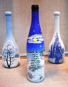 Wine Bottle Art, Glass Bottle Crafts, Painted Wine Bottles, Lighted Wine Bottles, Diy Bottle, Painted Wine Glasses, Christmas Wine Bottles, Bottle Painting, Vases