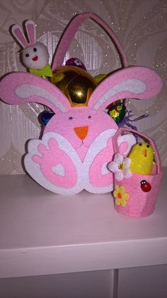 Easter bunny Easter basket packed with easter treats and miniature easter chick basket! ideal easter gift! by PetitechicboutiqueGB on Etsy