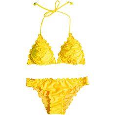 Seafolly Shimmer Slide Triangle (395 SEK) ❤ liked on Polyvore featuring swimwear, bikinis, lemon, womens-fashion, strappy bikini top, strappy bikini, strap bikini, seafolly bikini and embellished bikini