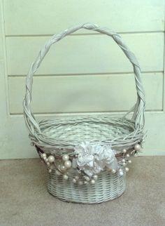 5ba8c9772d3353 Edge Stitch, White Wicker, Flower Girl Basket, Easter Baskets, Fabric  Flowers,