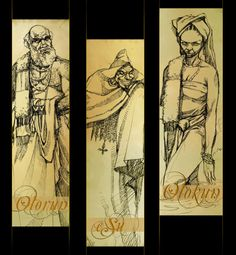 Three of the major Orishas in the Yoruba pantheon, Olorun, the Sky God, Olokun, Goddess of the Seas and Marshes, and Esu, the Trickster.   Each Orisha represents one of the energies of the divine being, who is far too profound to be encompassed by mearly one Orisha.