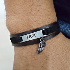 Pulseira Couro Masculina Feminina Free Asa Liberdade mens bracelets fashion style cocar brasil