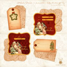 Free Printables :: Vintage Christmas Gift Tags :: double sided — EW Couture Collection