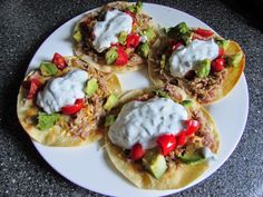 21 Day Fix Recipes: crock pot - Pork Tostadas - 1 Red  (for the meat and sauce) 1 Blue, 1 Yellow