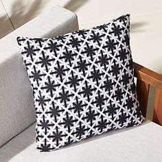 """20"""" cafe white and black outdoor pillow"""