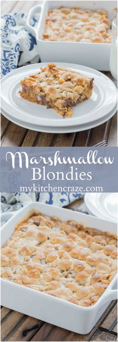 Need a tasty and quick dessert? These Marshmallow Blondies are it. Filled with peanut butter chips, chocolate chips, mini marshmallows, baked to perfection and voila, you have yourself a tasty treat! Mini Desserts, Easy Desserts, Delicious Desserts, Marshmallow Desserts, Healthier Desserts, Best Dessert Recipes, Gourmet Recipes, Sweet Recipes, Baking Recipes