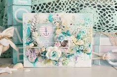 """Happy New Year - Stacey Young's January 2015 Shares """"Sea"""" Canvas for 2 Crafty Chipboard ~ Art Canvas."""