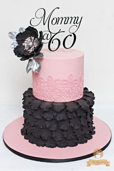 Pink and Black Cake by The Sweetery - by Diana
