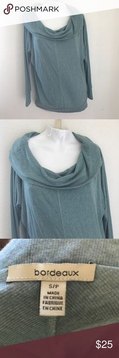 Bordeaux sea foam green blue cowl neck sweater S Beautiful Sea Foam Green sweater size Small from Bordeaux found at Anthropologie . Great condition. Super soft material. Pit to pit measurement laying flat is approximately 21 1/2 inches. Anthropologie Sweaters Cowl & Turtlenecks