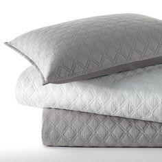 #VeraWang Step Edge Quilt Set. #bedding #beddingstyle #bedroom #gray