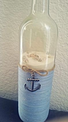 Nautical upcycled wine bottle by SmartHippie on Etsy - Diy Home Crafts Wine Bottle Corks, Glass Bottle Crafts, Bottle Bottle, Bottles And Jars, Glass Bottles, Perfume Bottles, Jar Crafts, Home Crafts, Wine Craft