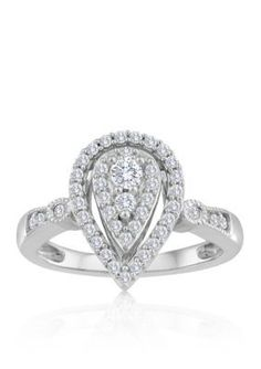 Belk  Co.  Platinum Plated Sterling Silver Cubic Zirconia Ring