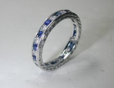 1.30ct Sapphire Diamond Eternity ring band 18kt white Gold Etsy Fine Jewelry BLUERIVER47 Anniversary Bridal Birthday Jewelry on Etsy, $980.00