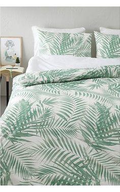 Outlet Dekbedovertrek Leaves - Eenpersoons - 140x200/220 cm - Wit/Groen