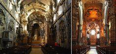 IGREJA DE SANTA CLARA CHURCH on left.  IGREJA DE SÃO FRANCISCO CHURCH on right.  Both interiors are covered in gold.  Porto, Portugal.