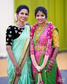 These two beauties are outfit goals. Photo by . Blouse Designs High Neck, High Neck Blouse, Sari Blouse Designs, Blouse Styles, Dress Designs, Banaras Sarees, Silk Sarees, Beautiful Saree, Indian Designer Wear