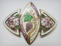 Art Nouveau Enamel Pin with Grapes & Flowers