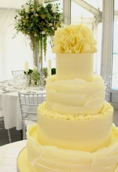 White chocolate smooth and ruffle wedding cake | Nicky Grant Wedding Cakes and Favours