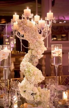 wedding centerpieces Breathtaking New York Wedding with Ballroom Glamour Decor - MODwedding Mod Wedding, New York Wedding, Wedding Events, Wedding Reception, Decor Wedding, Glamorous Wedding Decor, Wedding Lighting, Event Lighting, Tent Wedding