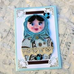 Paper Quilled RUSSIAN Nesting MATRYOSHKA Paper and FABRIC Doll Celina Handmade Greeting Card by Enchanted Quilling