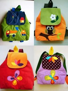 Mochilas kids - Gift Guide for Babies - meadoria Patchwork Bags, Quilted Bag, Mochila Tutorial, Sewing Crafts, Sewing Projects, Fabric Bags, Little Bag, Kids Bags, Kids Backpacks