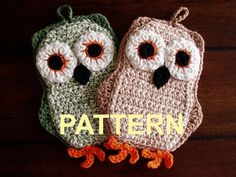 59 ideas for crochet patterns free owl ravelry Crochet Owls, Crochet Potholders, Crochet Animals, Knit Crochet, Ravelry Crochet, Crochet Kitchen, Crochet Home, Crochet Crafts, Crochet Projects