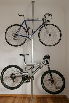 IKEA hack - bicycle rack For instructions: http://www.ikeahackers.net/2008/02/stolmen-bike-rack.html