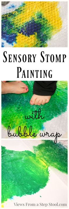 This fun sensory stomp painting process art is a great way to engage all of the senses in play. A wonderful way to make painting with kids mess-free! - Process Art for Kids Sensory Art, Baby Sensory, Sensory Tubs, Sensory Rooms, Sensory Boards, Sensory Bottles, Art Therapy Activities, Creative Activities, Creative Play