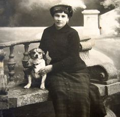 Antique lady with dog photograph antique dog by DogDayAfternoons